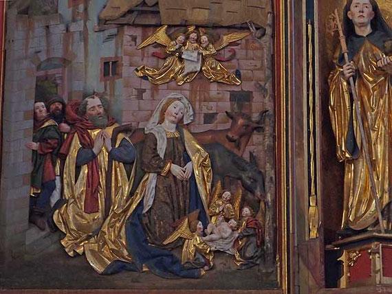 ausschnitt aus dem hochaltar im kloster blaubeuren, die heilige familie