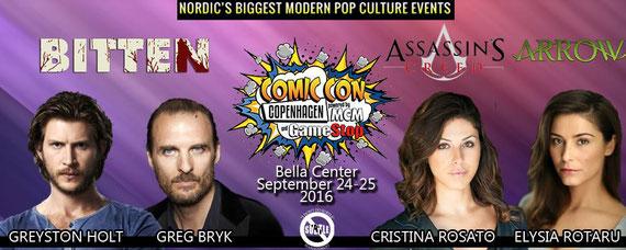 9/24-9/25/16 - Copenhagen, Denmark. - MCM Copenhagen Comic Con with Greyston Holt, Greg Bryk, Elysia Rotaru, Cristina Rosato.