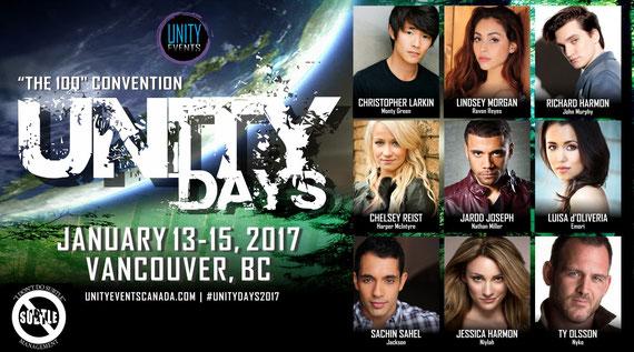 1/13-1/15/17 - Vancouver, Canada - Unity Days - With Richard Harmon, Lindsey Morgan, Chelsey Reist, Sachin Sahel, Jarod Joseph, Ty Olsson, Jessica Harmon, Luisa D'Oliveira, Chris Larkin.