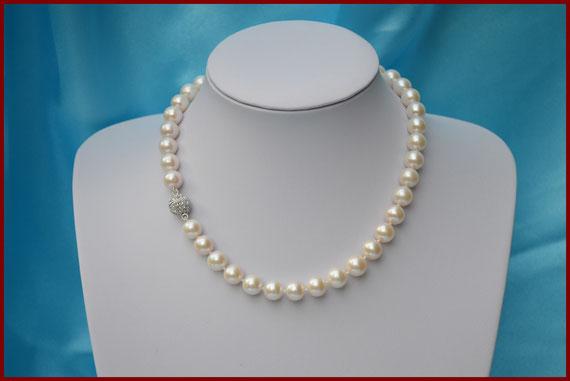 Collier de perles rondes blanches de 10/11 mm