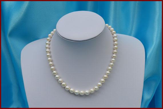 Collier ras de cou de perles rondes blanches de 7/7,5 mm