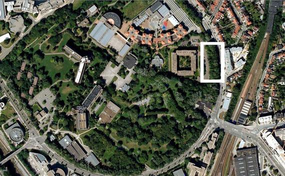 Carte du terrain concerné  par le projet Eckelmans, google maps 2012