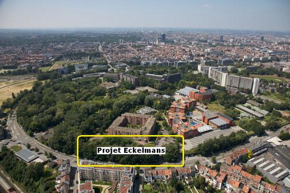 Emplacement du bâtiment du projet Eckelmans sur le boulevard du Triomphe