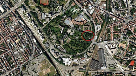 Zone concernée par la demande de permis d'urbanisme, google maps 2012