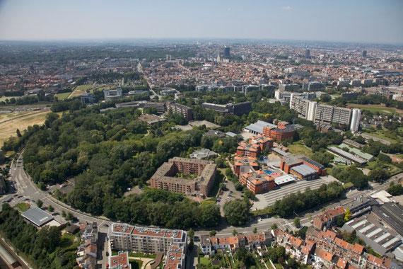 Photographie aérienne de la Plaine et du boulevard du Triomphe, Source: Immobel.be