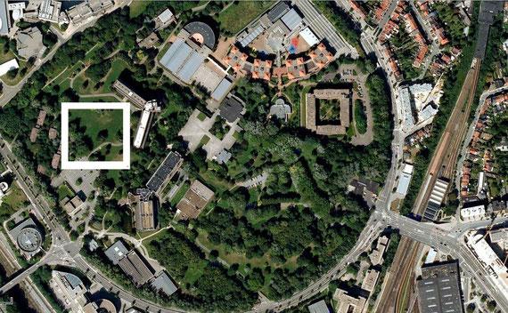 Carte localisant la zone concernée par le projet de la Facultée des Sciences Appliqueés, google maps 2012