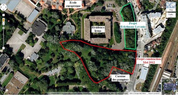Zone concernée (en rouge) par la demande de permis d'urbanisme d'avril 2012, Google Maps 2012