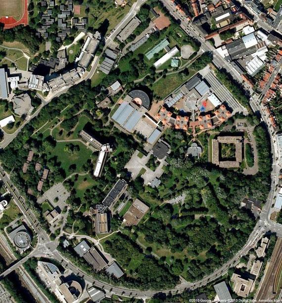 Carte des terrains menacés en 2010, google maps