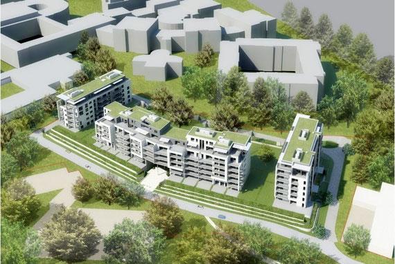 """Ancienne maquette du projet """"phase 1"""" (2012): quatre immeubles à l'arrière de la caserne des pompiers, le projet a été modifiée par la suitesource: http://www.immobel.be/fr/portfolio/bureaux-en-developpement/280-universalis-park"""