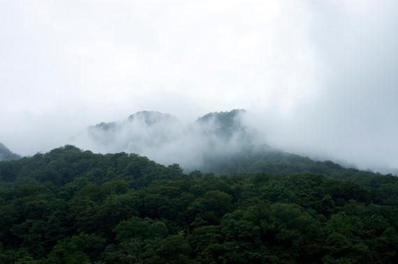 十和田湖の湖上から見た山。小鳥の声が湖に響いてきます。