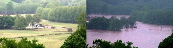 La vallée de la Nivelle : en temps normal et pendant la crue de mai 2007. © C-PRIM 2009