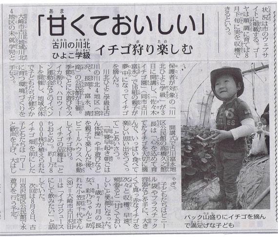 川北ひよこ学級「わくわく遠足いちご狩り」大崎タイムス掲載