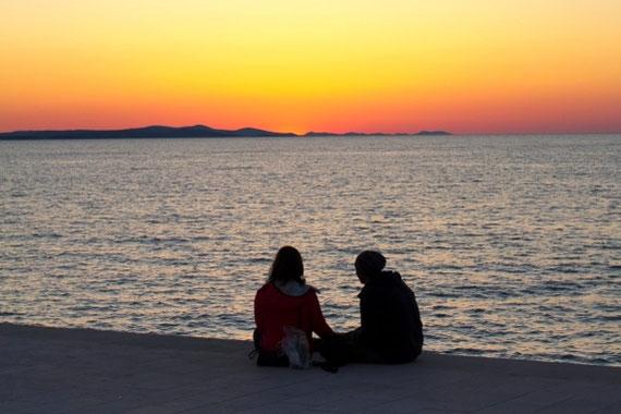 Saulėlydis Zadaro krantinėje Kroatijoje