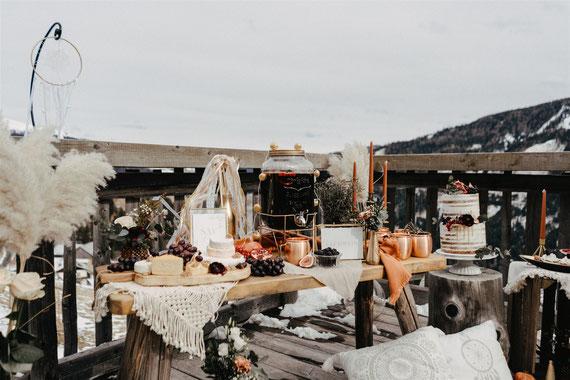 Glühwein bei einer Winterhochzeit