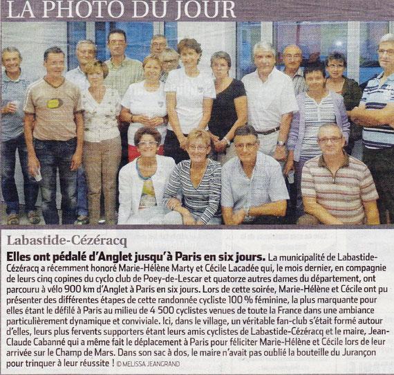 Grâce à une correspondante Presse particulièrement dynamique sur Labastide, deux de nos 7 héroïnes sont au nouveau au tableau d'honneur dans la presse régionale.