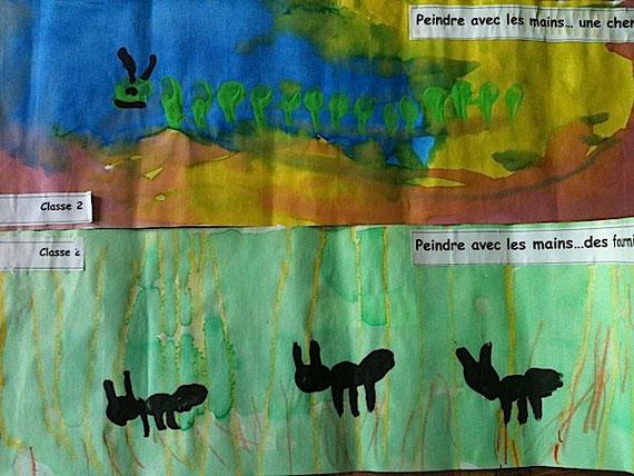 ムカデとありんこ。クレヨンが水彩にはじくところが園児達にウケたとか。
