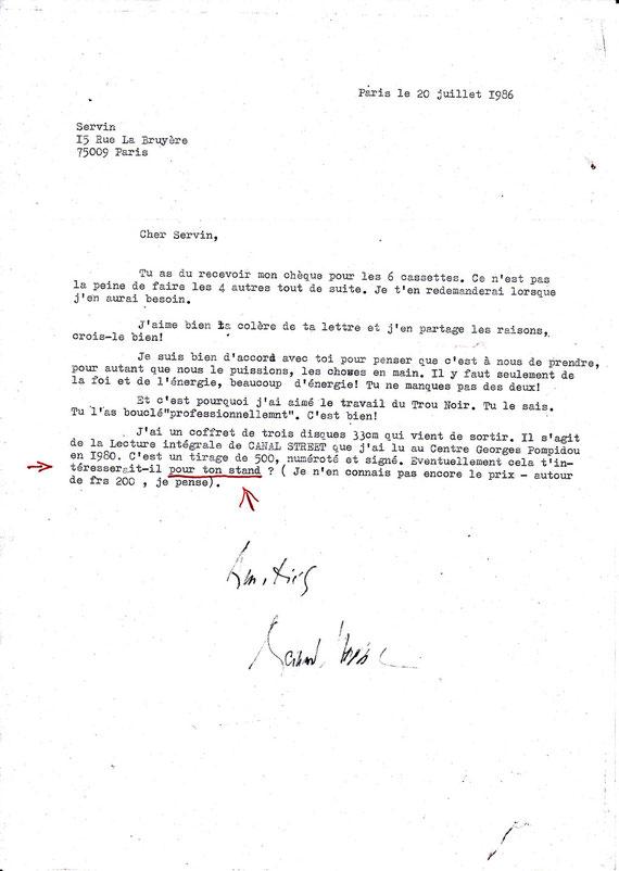 Lettre dde Bernard Heidsieck à SERVIN
