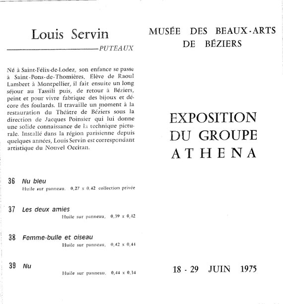 Cxpo Groupe Athéna 1975  Musée de Béziers avec notice de SERVIN