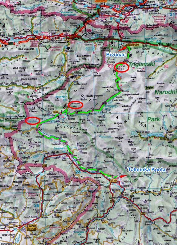 Mardi 15 Juillet / Jour 2 / Zatolmin / lac de Kranjska (97 Kms)