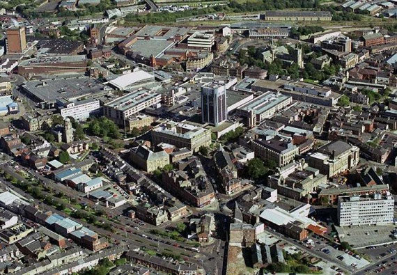Ariel view of Blackburn town centre