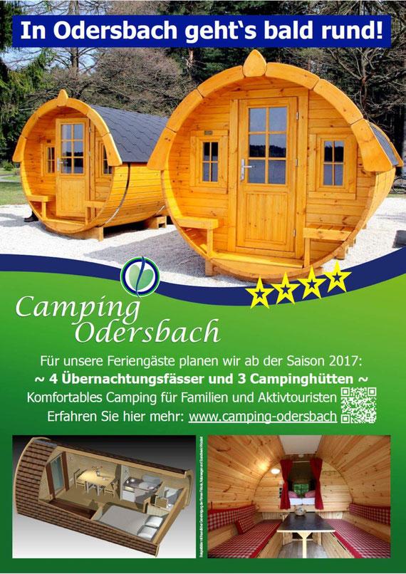 Informationsflyer des Campingplatz Odersbach über die neuen Angebote in der nächsten Saison.