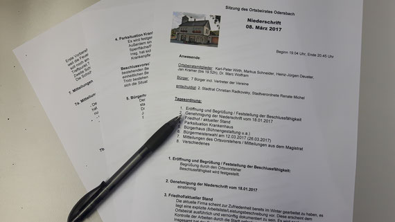 Niederschrift der Sitzung des Ortsbeirats Odersbach vom 08. März 2017 (Bild: Kramer)