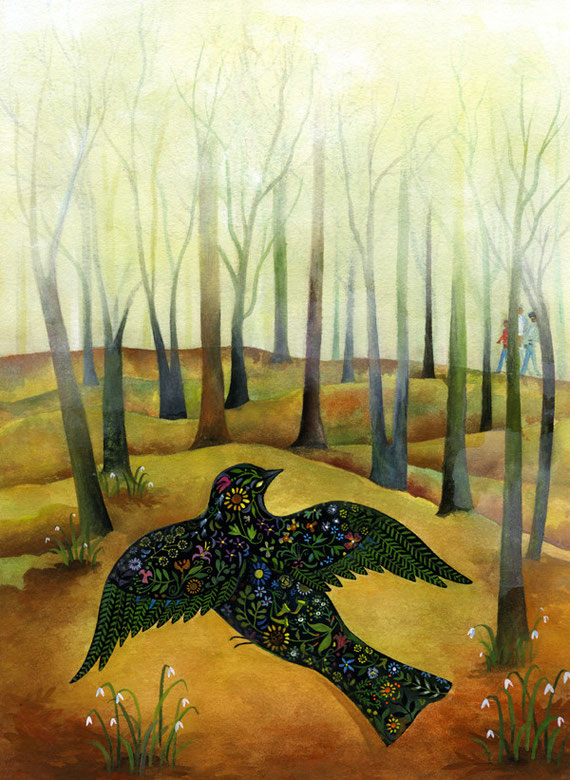 Ande Cook painting for Atlanta Botanical Gardens blackbird with flowery back in a winter forest