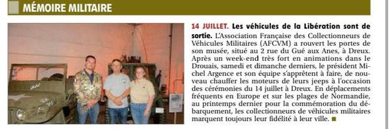 Journal l'Echo Républicain DREUX le 14 Juillet 2021