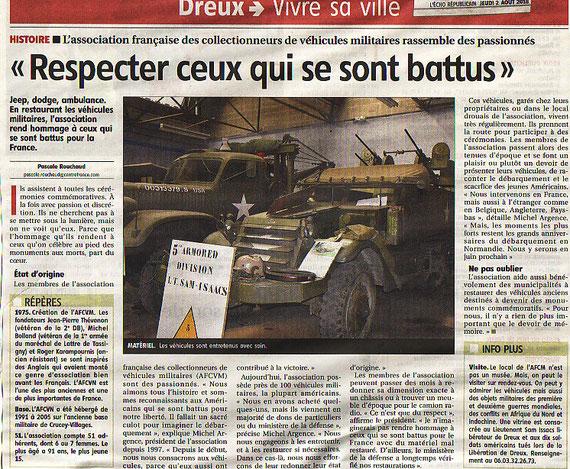 article de presse du journal L'ECHO RÉPUBLICAIN du 02 août 2018