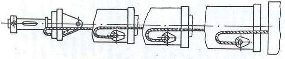 Рис. 14. Схема заправки троса в нижние блоки
