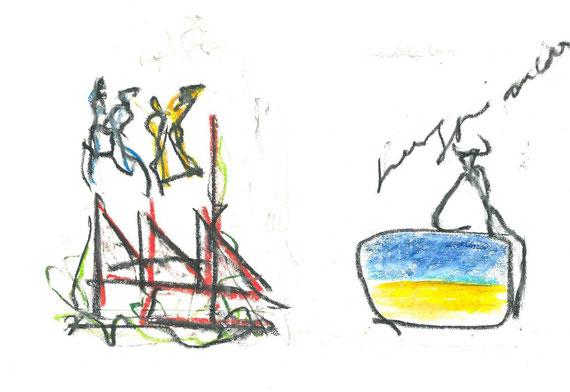 disegno originale dell'autore a doppia pagina