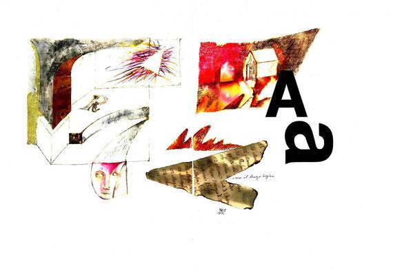 caratteri tipografici in legno e opera originale dell'autore a doppia pagina