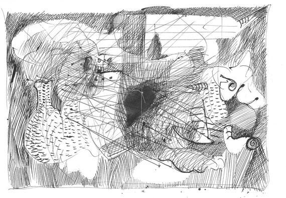 opera originale di Piermario Dorigatti a doppia pagina