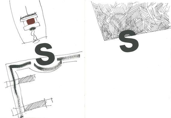 caratteri tipografici in legno e intervento originale dell'autore a doppia pagina