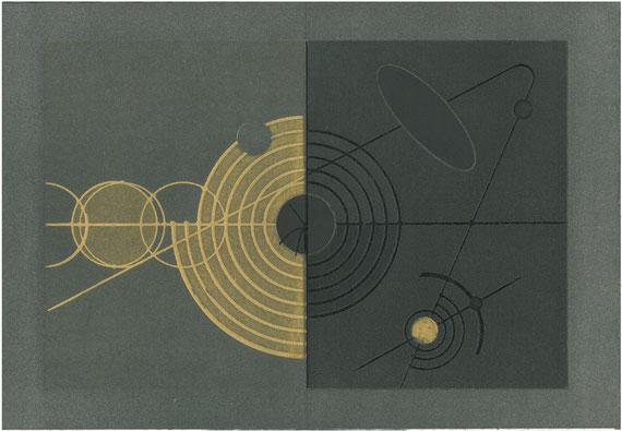 incisione originale dell'autore a doppia pagina contenuta in Altare (misura lastra 215x325 mm)