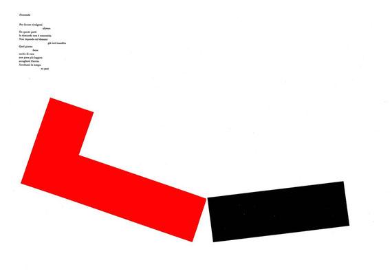 doppia pagina con stampa tipografica a due colori e collage