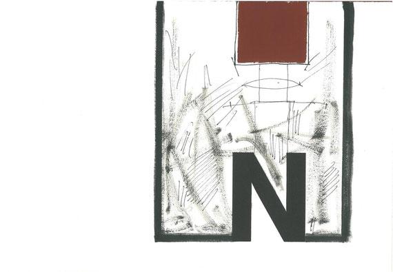 carattere tipografico in legno e intervento originale dell'autore a doppia pagina