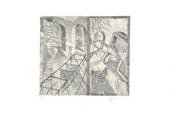 incisione originale di Marco Marchiani Mavilla a doppia pagina (misura lastra 185x210 mm)