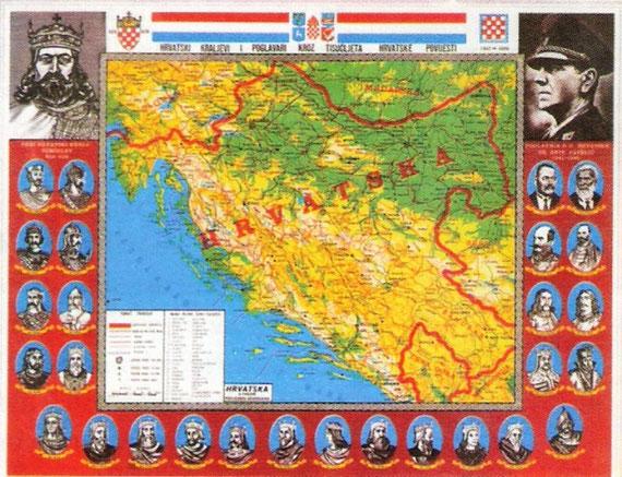 "slika 574 - Zemljovid ""prave"" NDH iz godine 1990."