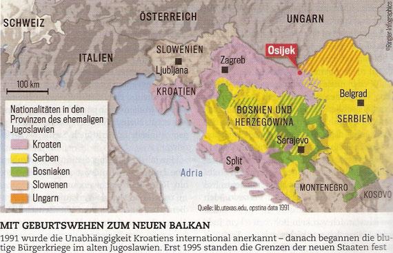 U porođajnim mukama ka novom Balkanu / 1991. godine međunarodna zajednica je priznala neovisnost Republike Hrvatske. Nakon toga započinje krvavi građanski rat u bivšoj Jugoslaviji. Tek 1995. godine dolazi do utemeljenja današnjih državnih granica.