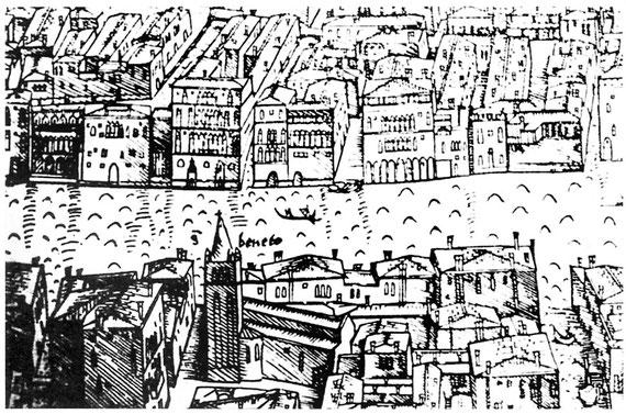 Lo stazio della Madonetta, approdo del traghetto di San Beneto. In basso a destra due barche sul rio Menuo (Jacopo de' Barbari: Veduta prospettica della cità, 1500, particolare, MSN Venezia)