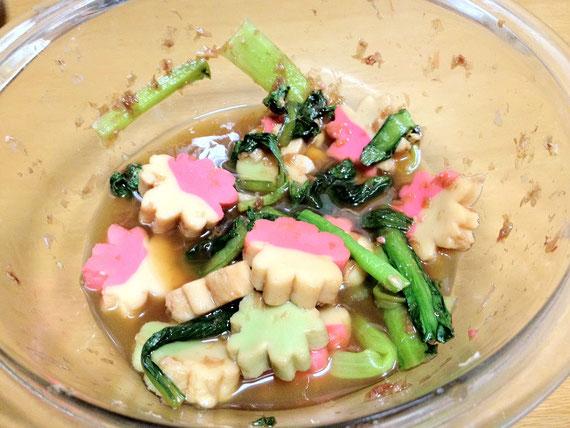 小松菜と彩麩 さくらのレンジ煮