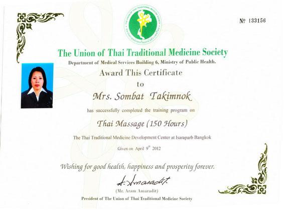 Thaimassage Köln Zertifikat Sombat Takimnok