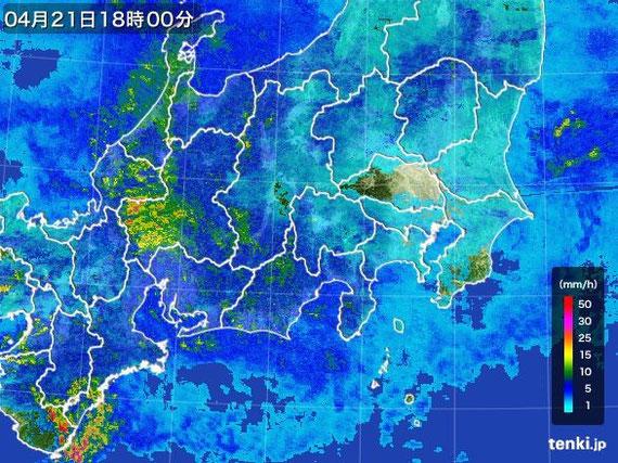 tenki.jp 関東・甲信地方の雨雲の動き(実況) より