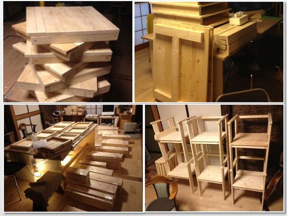 ラス パパス オリジナル家具作りの様子:テーブルと椅子