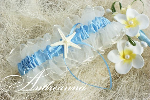 Свадебная подвязка «Морской берег» с морской звездочкой ручной работы, молочная стоимость 200грн 26$