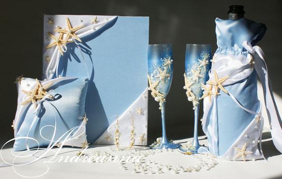 """Чехол для шампанского Тропический остров"""" с морскими звездами стоимость 450 грн"""