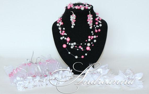 """Серьги, браслет и колье """"Жемчужный дождь"""". Бело-розовый. жемчужные веточки для волос, цветок для волос - все в едином стиле."""