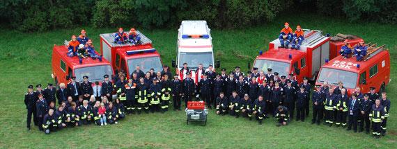 Gruppenfoto der 4 Feuerwehren in der Hansestadt Werben (Elbe)