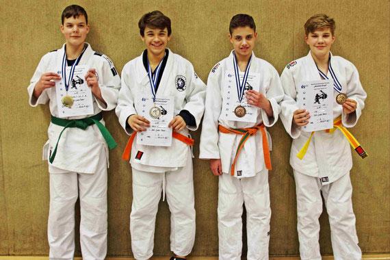 Jonas (1. Platz), Felix (2. Platz), Mirco (3. Platz), Ole (3. Platz)